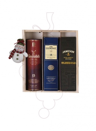 Photo Boîtes de Noël Pack 4 Bouteilles de Vin + Vin Accessoires