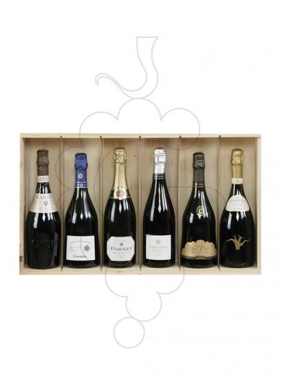 Photo Boîtes de Noël Pack 5 Bouteilles Cava + Vin mousseux + Accessoires Vin